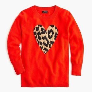J. Crew Cashmere Crewneck Sweater Leopard Heart